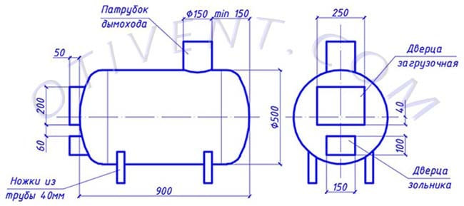 Чертеж банной печки, сделанной из трубы