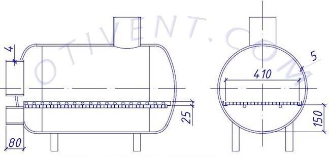 Чертеж банной печки – продольный разрез