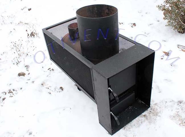Банная печка с сеткой для каменки