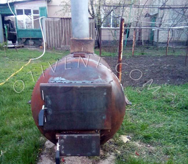 Самодельная банная печка из баллона 500 мм