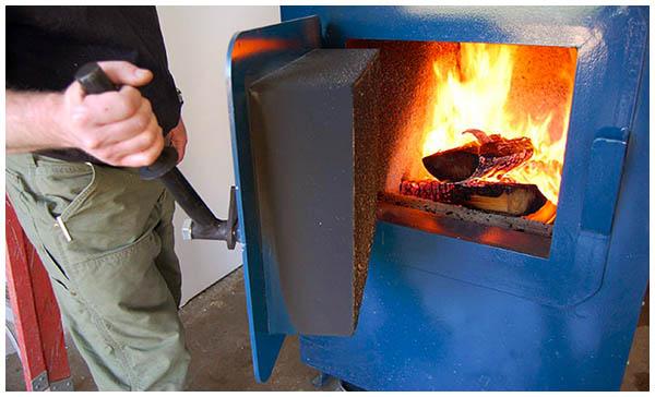 Горящее топливо в камере