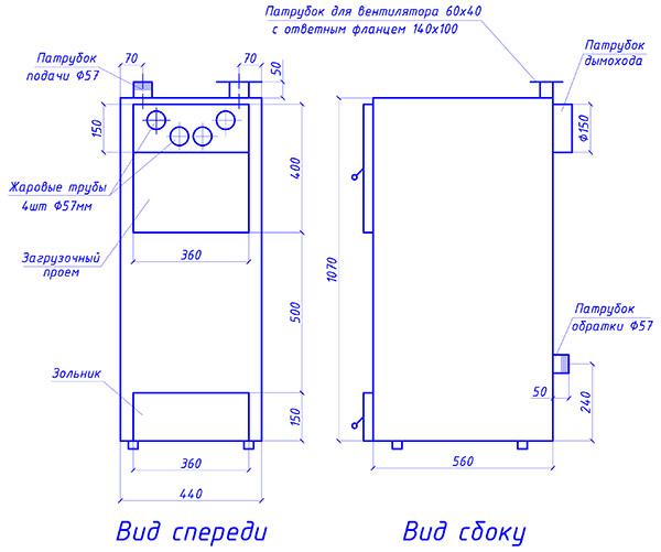 Габариты корпуса и элементов теплогенератора