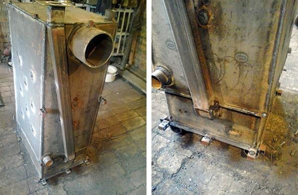 Канал принудительной подачи воздуха в камеру отопительного агрегата