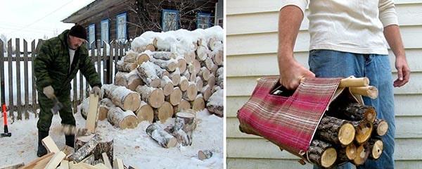 Заготовка и рубка дров для котла
