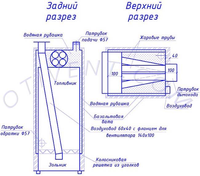 Чертеж дровяного теплогенератора в разрезе с размерами