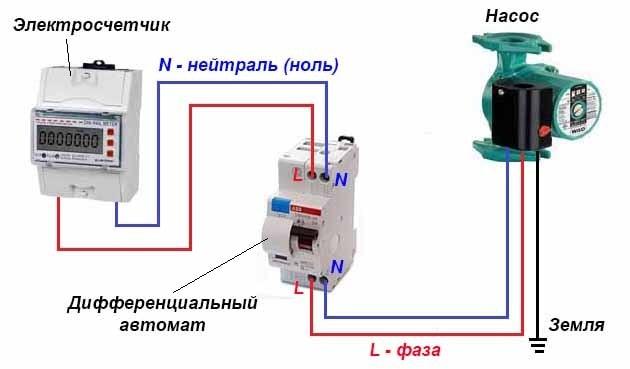 Схема подключения насосного агрегата к сети 220 вольт