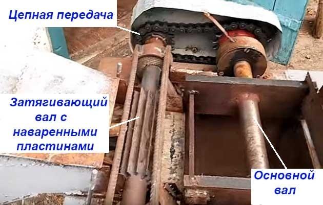 Механическая подача веток в дробилку
