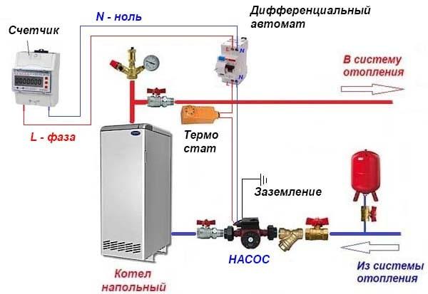 Схема включення насоса через термостат
