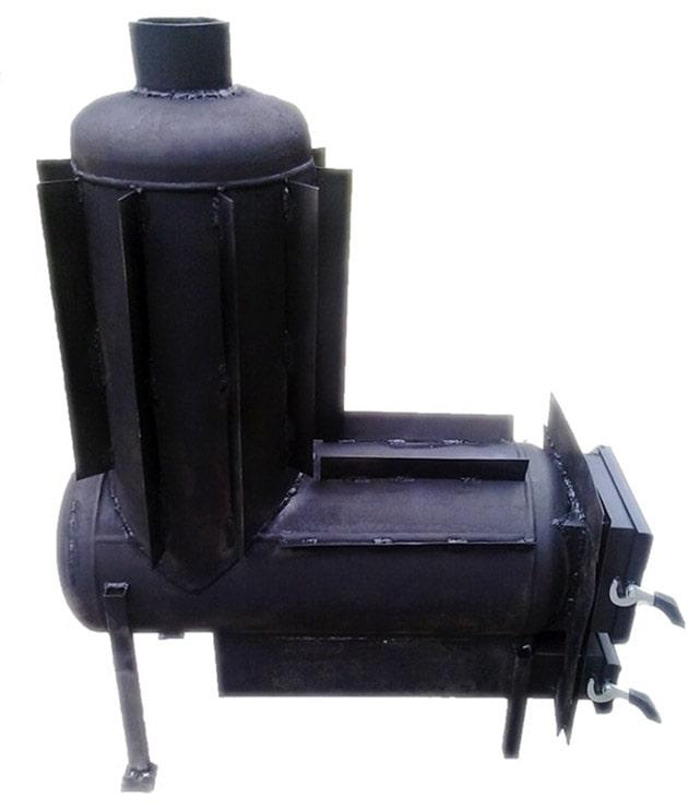 Самодельная стальная печка с конвекционными ребрами