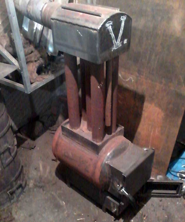 Отопление мастерской на дровах