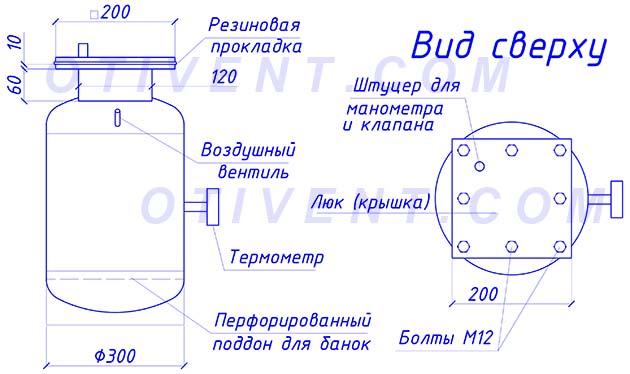 Аппарат для консервирования на чертеже