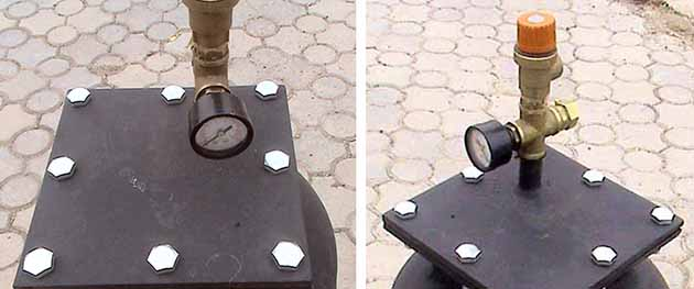 Манометр и клапан на крышке