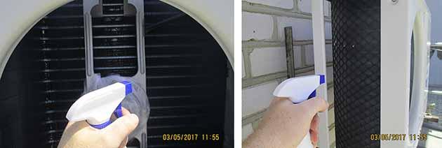 Обрызгивание радиатора моющим средством