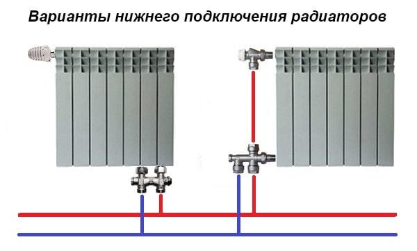 Схемы с нижним подключением батарей с помощью арматуры