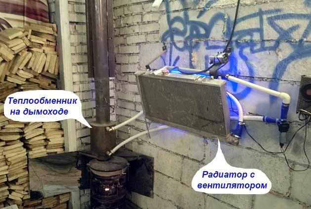 Подключение воздушного теплообменника к печке