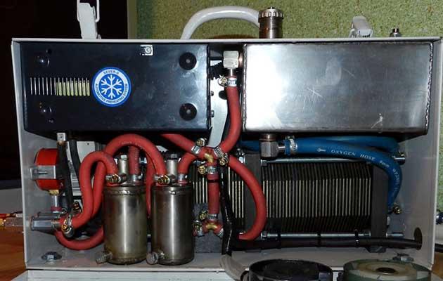 Конструкція заводського електролізера – вид зсередини