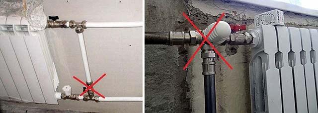 Неправильная установка перемычки радиатора