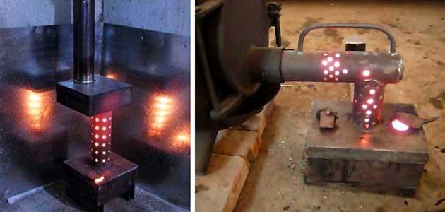Самодельная буржуйка для сжигания отработанных масел