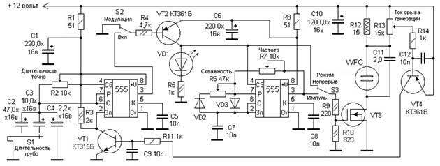 Принципова схема електронного генератора імпульсів