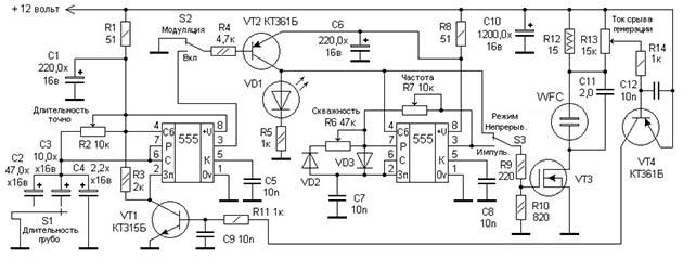 Электронная схема частотного генератора
