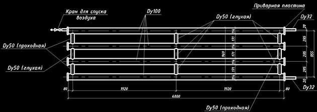 Схема гаражного регистра из гладких труб