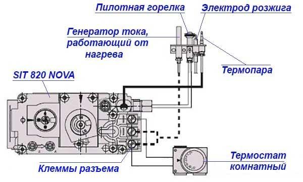 Схема підключення термостата до блока автоматики
