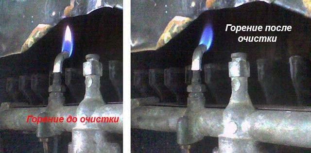 Горение фитиля водогрейной установки