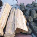 3 вида топлива - дрова и различные брикеты
