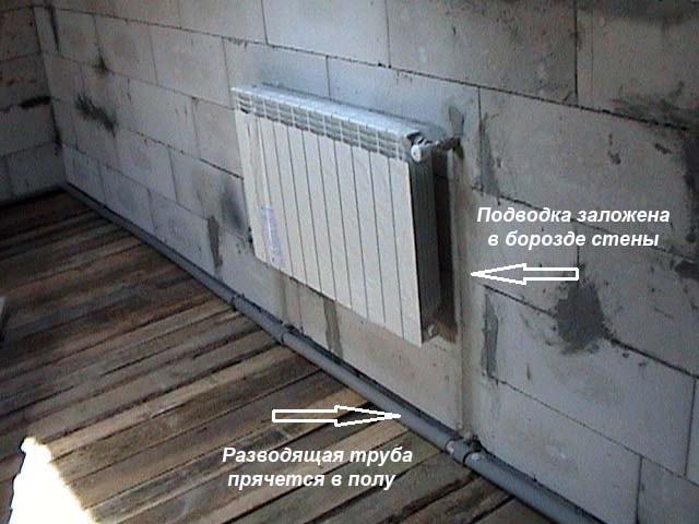Підключення радіаторів до магістралі прихованим способом