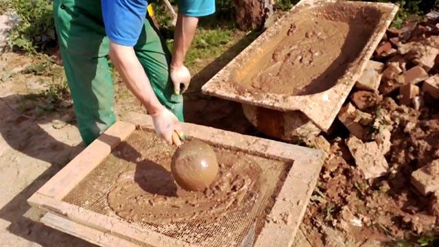 Приготовление кладочного раствора из глины