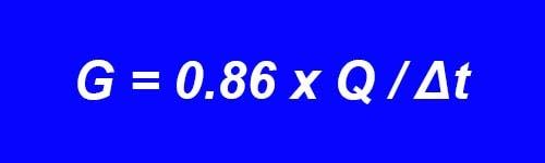 Формула розрахунку витрати теплоносія на ділянці труби