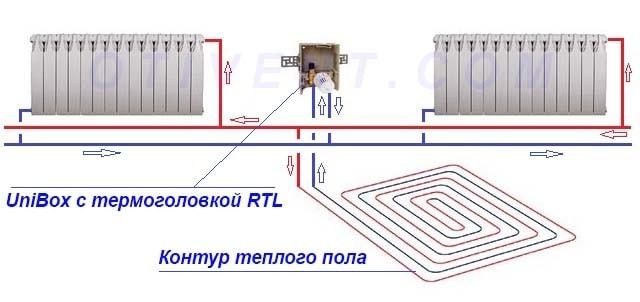 Схема підключення теплої підлоги з регулюючим клапаном RTL