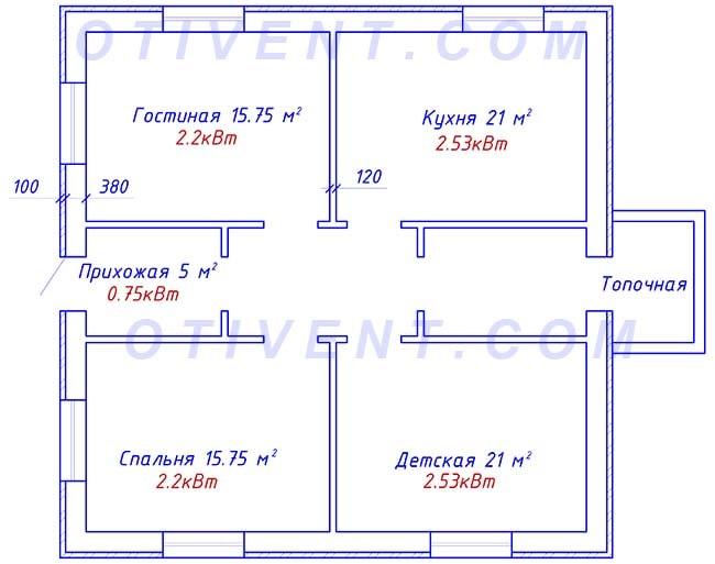 План першого поверху заміського будинку 100 м. кв.