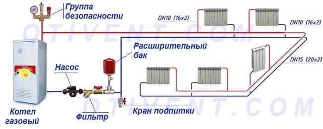 Тупиковое подключение обогревательных приборов