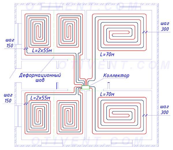 Расположение водяных контуров в одноэтажном доме