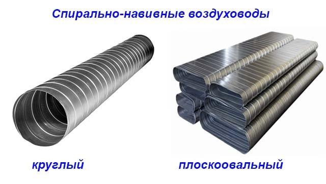 Виды спиральных жестяных трубопроводов