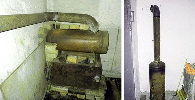 Дров'яна металева піч у гаражі