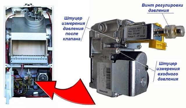 Расположение диагностических штуцеров газового клапана