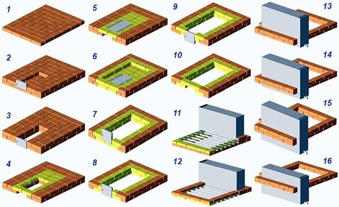 Кладочная схема отопителя ряды 1—16