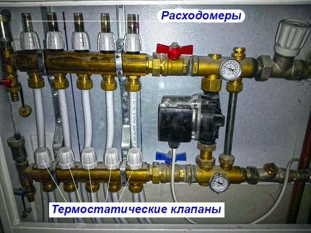 Расположение расходомеров на коллекторе