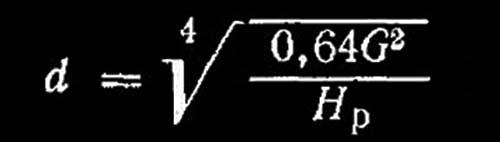 Формула определения диаметра форсунки по располагаемому напору