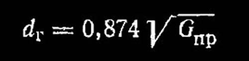 Формула расчета смесительной горловины