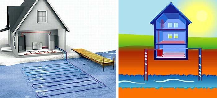 Схемы отбора тепла водной среды