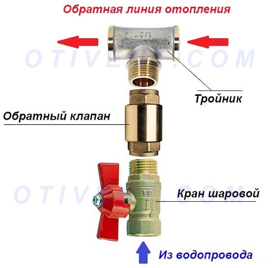 Схема пополнения системы через кран