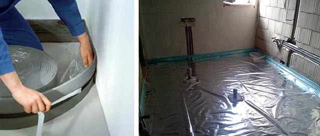Укладка гидроизоляции и монтаж демпферной полосы