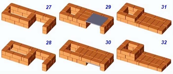 Порядок кладки теплушки - ряды 27-32