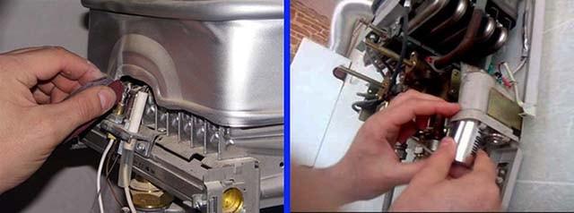 Чистка электродов и замена батареек водонагревателя