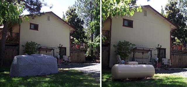 Размещение наземного газгольдера во дворе