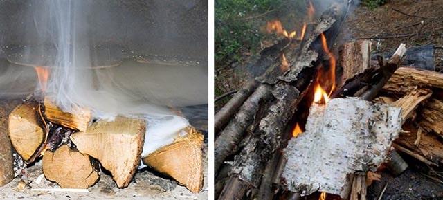 Сжигание сырых дров