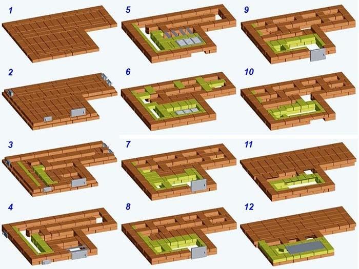Кладка рядов 1—12 рабочая схема